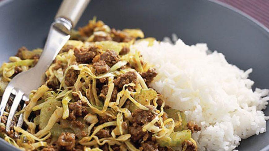 Macinato al Curry con Verdure e Riso Basmati