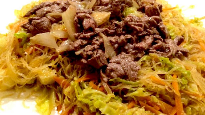 Spaghetti Cinesi con Carne di Manzo